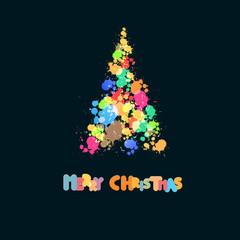 Abstract Splash, Blot Christmas Tree on Black Background