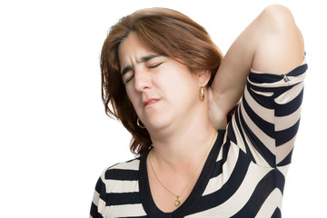 Hispanic woman suffering from neck or cervical pain i
