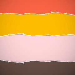 Retro Pink, Yellow, Red Cardboard, Torn Papers Background