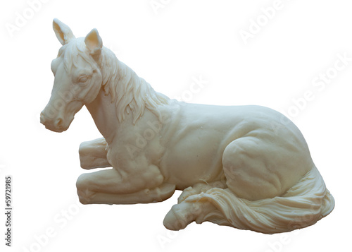 white chocolate laying horse figure isolated on white background