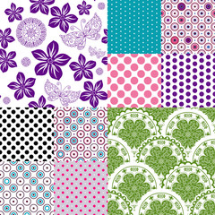 Set seamless vintage pattern