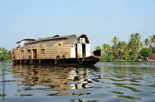 Tourist boat at Kerala backwaters,Alleppey,India