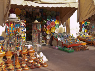 Moroccan shop with souvenirs and tableware