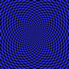 Abstract blue background. Rotation movement illusion.