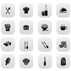Food buttons,Black version,on white background