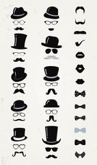 Hipster Retro Vintage Vector Icon Set, Mustache, Lips