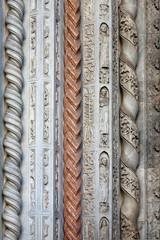 stone carving of Colleoni chapel in Bergamo