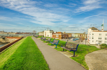 Footpath Lined with Benches in Old Portsmouth