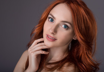 Portrait  girl with red-haired
