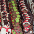 assorted christmas chocolates in shape of snowman,christmas tree