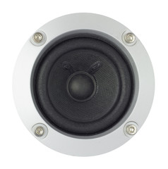 Speaker in a metal frame with bolts