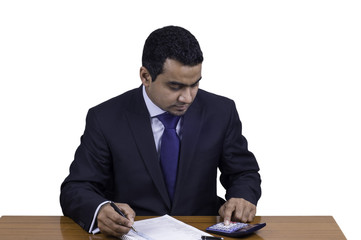 businessman working with calculator and balance sheet