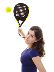 Isolated paddle tennis girl