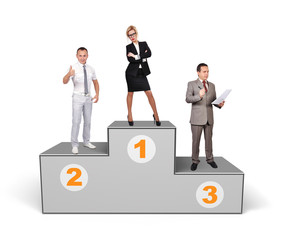 businesspeople standing on podium