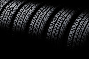 3d tires on black  background