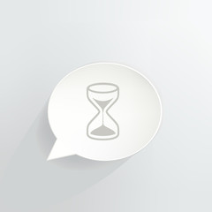 Hourglass Speech Bubble Sign