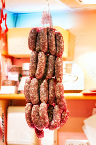 Sausages on Display at a Local Market
