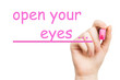 open your eyes, pink marker