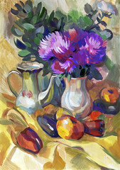 Still life a bouquet of flowers. Hand-drawn in gouache