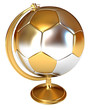 Gold Cup winner as a soccer ball and globe