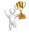 Funny white people holding a Golden Cup. Gold Trophy Cup