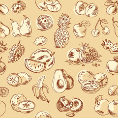 Freehand drawing fruit. Seamless pattern