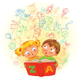Fototapety Boy and girl reading a magic book