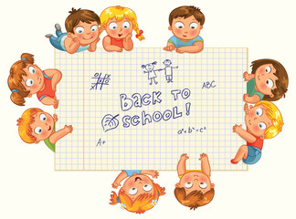 Cute little kids show a blank exercise book