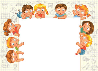 Cute little kids show a blank poster