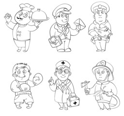 Professions. Coloring book