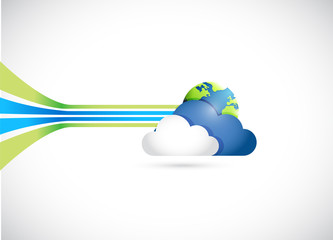 globe and cloud illustration design