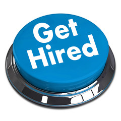 A blue push button with the word Get Hired