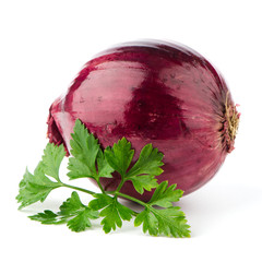 Red onion tuber and fresh parsley