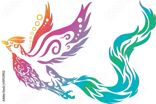 phoenix tribal chinese style on white background