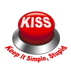 3d illustration of principle of KISS ( Keep It Simple, stupid) b