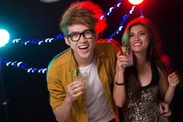 Cheerful party people