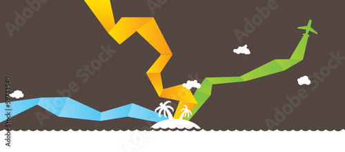 Holidays sea landscape. Vector.