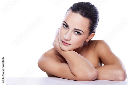 portrait of a beautiful girl on white background