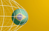 vector brazil flag on soccer ball - goal