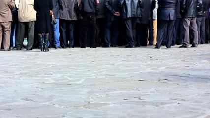 crowd feet in street