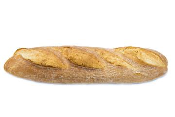 Barra de pan rústico de horno de leña aislada sobre fondo blanco