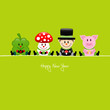Cloverleaf, Fly Agaric, Chimney Sweeper & Pig