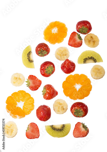 Collection of fruit isolated on white background