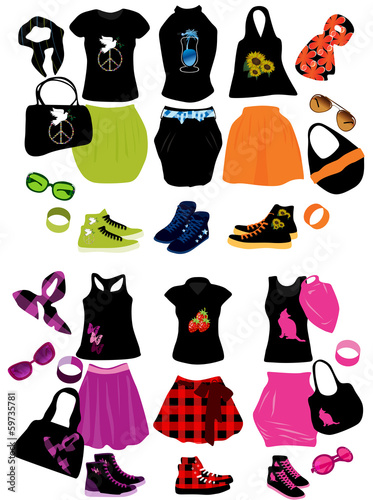 Vector illustration of fashion elements for women
