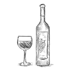 vector sketch illustration -  glass and bottle of red wine