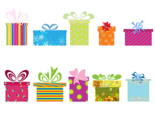 Vector illustration of different gift boxes