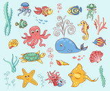 Set of underwater animals