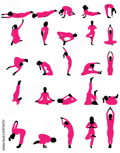 Vector illustration of different silhouettes of yoga - 59736757