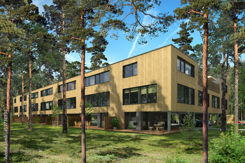 Rendering of a modern terraced houses in pine trees