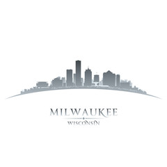 Milwaukee Wisconsin city skyline silhouette whitek background